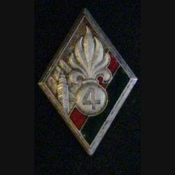 4° REI : insigne du 4° régiment étranger d'infanterie 1938  embouti Drago Béranger en émail sans attache