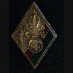 4° REI : 4° régiment étranger d'infanterie de fabrication Drago Romainville en émail épingle coupée de part et d'autre du boléro