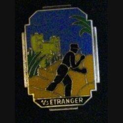3° REI : insigne du 1° bataillon du 3° régiment étranger d'infanterie Drago R 84 (bagnard sur fond orangé)
