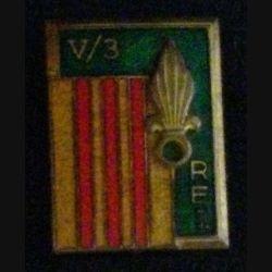 3° REI : insigne du V° bataillon du 3° régiment étrager d'infanterie en Extrême Orient Drago Olivier Métra en émail