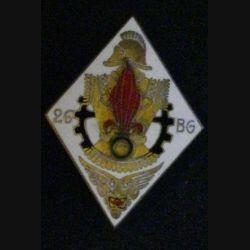 26° BGL : insigne du 26° bataillon du génie de la légion étrangère Drago Olivier Métra G. 979 en émail