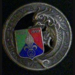 2° REC : insigne du 2° régiment étranger de cavalerie de fabrication Arthus Bertrand H. 299 en émail