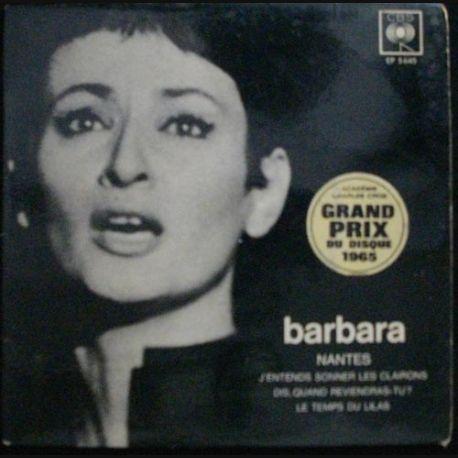 DISQUE 45 TOURS : BARBARA NANTES GD PRIX DISQUE 1965 N°EP5645 (C72)