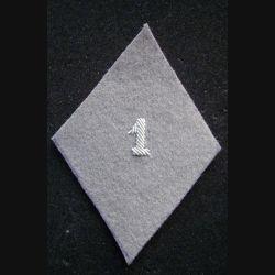 losange de bras modèle 45 : 1° groupe logistique du commissariat avec le chiffre 1 en cannetille argent