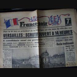 FRANCE SOIR DU VENDREDI 18 DÉC 1953 : ÉLECTIONS PRÉSIDENTIELLES