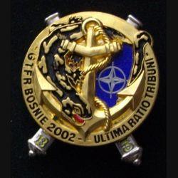 3° RAMA : insigne métallique de la 3° batterie du 3° régiment d'artillerie de marine GFTR en Bosnie de fabrication Boussemart 2002 dos argenté