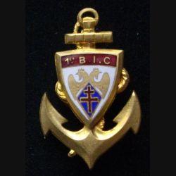 1° BIC : insigne métallique du 1° bataillon d'infanterie coloniale de fabrication en émail