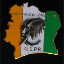 GSPR CI : insigne métallique du groupe de protection de la présidence de la République de Côte d'Ivoire de fabrication Boussemart Promodis