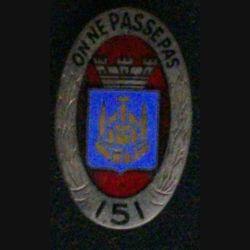 151° RI : 151° RÉGIMENT D'INFANTERIE ÉMAIL Drago H. 117