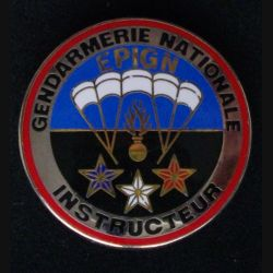 EPIGN :  insigne métallique de brevet instructeur de l'escadron parachutiste d'intervention de la Gendarmerie nationale EPIGN de fabrication Boussemart 2004