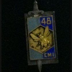 48° CMI : insigne métallique de la 48° compagnie mixte de l'intendance de fabrication Drago G. 1381 en émail argenté