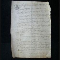 vieux manuscrit (3) du 24 juin 1816 de 3 pages concernant la convocation à comparaître en vue d'un inventaire avec sceau de 50 centimes empire français et sceau sec de l'adm. de l'enr. et des dom.