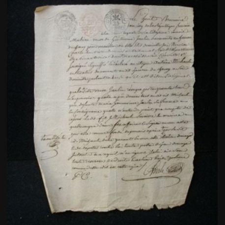 vieux manuscrit (12) du 8 brumaire an cinq comprenant 1 page recto verso avec un sceau de 25 centimes et 2 sceaux d'expédition de 5 sols