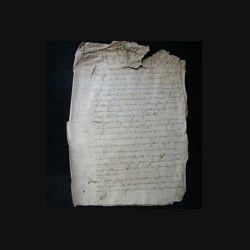 vieux manuscrit (14) du 19 brumaire de l'an six de la République française comprenant 4 pages en état mauvais au sommet avec 1 sceaux de 50 centimes de la république française
