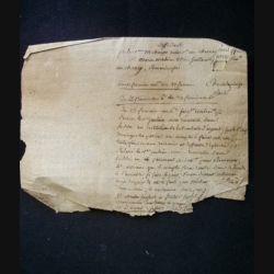vieux manuscrit (15) du 23 brumaire an six comprenant 1 page recto qui est plutôt une note personnelle griffonnée sur un extrait de document de l'imprimerie du Tribunal criminel de Versailles