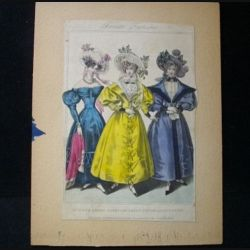 "MODE : image de mode ""French Fashions""14,5 x 21,5 cm appelée ""dinner dress, carriage dress, promenade dress"" années 1830"