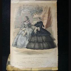 MODE : Le Moniteur des dames et des demoiselles : gravure couleur de Jules David présente deux femmes en robe de Pauline Conter, toilettes de la maison R. Lhopiteau.