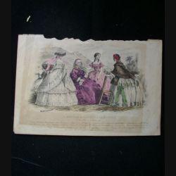 MODE : Le Moniteur des dames et des demoiselles : gravure couleur de Jules David présente quatre femmes en robe de Pauline Conter
