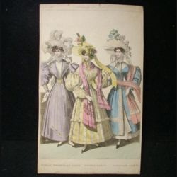 "MODE : image de mode 14,5 x 24 cm appelée ""public promenade dress, dinner dress, carriage dress"" années 1830"