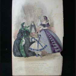 MODE : Le Moniteur de la mode : gravure couleur de Jules David présente deux femmes et deux enfants en robe de Pauline Conter, toilettes de la maison R. Lhopiteau.