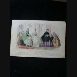 MODE : Le Moniteur des dames et des demoiselles : gravure couleur de Jules David présente un groupe de femmes et d'enfants en robe de Pauline Conter, toilettes de la maison R. Lhopiteau.