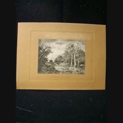 """image représentant un tableau du Louvre intitulé """"lisière de forêt"""" de Narcisse Diaz de la Pena en noir et blanc sur carton marron"""