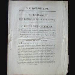 Vieux manuscrit (21) concernant un cahier des charges d'une adjudication publique du 1° mars 1819 à Versailles au bail pour une année des étangs et rigoles de la dite ville canton de Saint Hubert