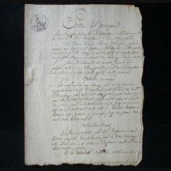 vieux manuscrit (22) du 1° octobre 1807 comprenant 4 pages d'un acte sous seing privé avec 1 sceaux de 50 centimes de l'empire français et un sceau (sec) de l'adm de l'ent. et des dom.