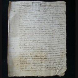 vieux manuscrit (26) du 4 frimaire de l'an sept comprenant 4 pages d'un procès verbal de saisie du tribunal départemental de Seine et Oise avec 2 sceaux de 25 centimes carrés de la République française
