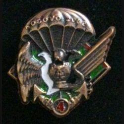 17° RGP 4° CIE KOSOVO : insigne de la 4° compagnie du 17° régiment du génie parachutiste au Kosovo en 2002 en bronze massif boléro allongé
