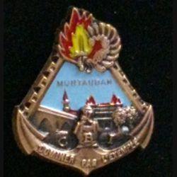 """17° RGP CBI : insigne de la compagnie de base et d'instruction """"dominer par l'exemple"""" du 17° régiment du génie parachutiste en bronze massif boléro allongé et centre bleu clair"""