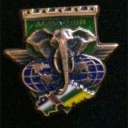 17° RGP CA RCA : insigne de la compagnie d'appui CA du 17° régiment du génie parachutiste en République Centrafricaine RCA opération Almandin en bronze massif boléro allongé