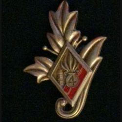 4° REI : Commissariat du 4° régiment étranger d'infanterie couleur rouge en bronze massif tirage dissolution