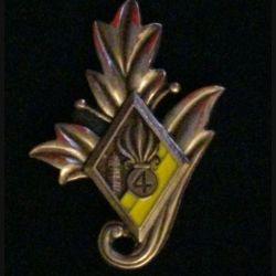 4° REI : insigne du commissariat du 4° régiment étranger d'infanterie couleur jaune en bronze massif tirage dissolution