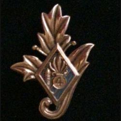 4° REI : insigne du commissariat du 4° régiment étranger d'infanterie couleur grise en bronze massif tirage dissolution