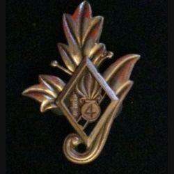 4° REI : insigne du commissariat du 4° régiment étranger d'infanterie couleur noire en bronze massif boléro tirage dissolution
