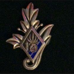 4° REI : Commissariat du 4° régiment étranger d'infanterie couleur bleue nuit en bronze massif tirage dissolution