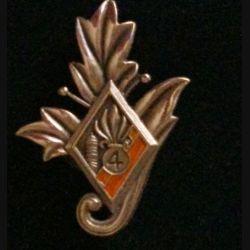 4° REI : insigne du commissariat du 4° régiment étranger d'infanterie couleur orange en bronze massif tirage dissolution