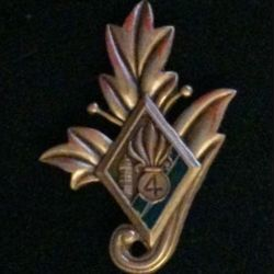 4° REI : insigne du commissariat du 4° régiment étranger d'infanterie couleur verte en bronze massif  tirage dissolution