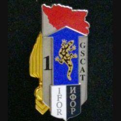 1°GSCAT IFOR : insigne du 1° groupement des subsistances du commissariat de l'armée de terre en Ex-Yougoslavie 1° mandat de l'IFOR fabrication  Boussemart