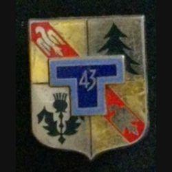 43° RT : insigne du 43° régiment de transmissions de fabrication Drago G. 2125 dos lisse argenté, bleu clair sur le T