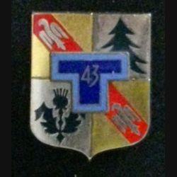 43° RT : insigne du 43° régiment de transmissions de fabrication Drago G. 2125 dos lisse argenté