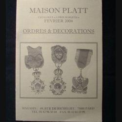 0. CATALOGUE PLATT : catalogue à prix marqués de février 2004 d'Ordres et de décorations du monde entier