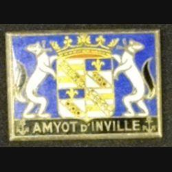 AMYOT D'INVILLE : insigne de l'aviso dragueur Amyot d'Inville Drago Romainville épingle coupée en émail