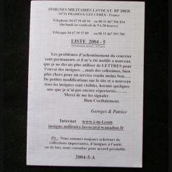 0. Liste 2004 - 05 d'insignes militaires illustrés en couleur réalisé par la SARL IML insignes militaires Lavocat : catalogue de 226 insignes couleurs côtés (C139)