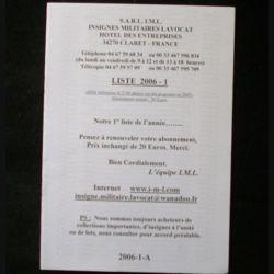 0. Liste 2006 - 01 d'insignes militaires illustrés en couleur réalisé par la SARL IML insignes militaires Lavocat : catalogue de 251 insignes couleurs côtés (C139)