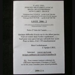 0. Liste 2006 - 02 d'insignes militaires illustrés en couleur réalisé par la SARL IML insignes militaires Lavocat : catalogue de 227 insignes couleurs côtés (C139)