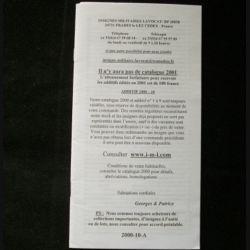 0. Liste 2000 - 10 d'insignes militaires illustrés en couleur réalisé par la SARL IML insignes militaires Lavocat : catalogue de 283 insignes couleurs côtés (C139)