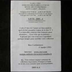 0. Liste 2005 - 04 d'insignes militaires illustrés en couleur réalisé par la SARL IML insignes militaires Lavocat : catalogue de 244 insignes couleurs côtés (C139)