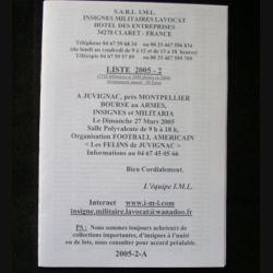 0. Liste 2005 - 02 d'insignes militaires illustrés en couleur réalisé par la SARL IML insignes militaires Lavocat : catalogue de 214 insignes couleurs côtés (C139)